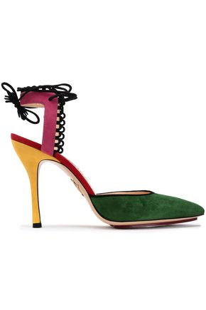 CHARLOTTE OLYMPIA Color-block suede pumps