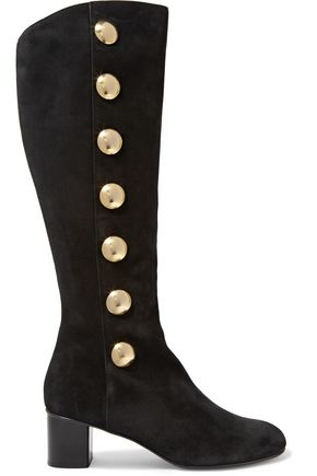 CHLOÉ Button-embellished suede boots