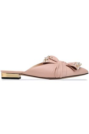 CHARLOTTE OLYMPIA Knotted embellished leather slippers