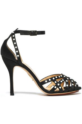 CHARLOTTE OLYMPIA Studded cutout satin sandals