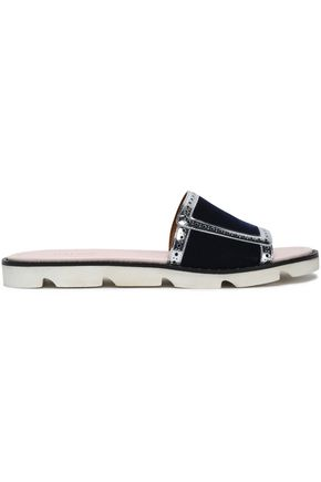 MALONE SOULIERS Metallic leather-trimmed velvet slides