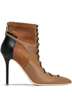 MALONE SOULIERS Lace-up leather and suede ankle boots