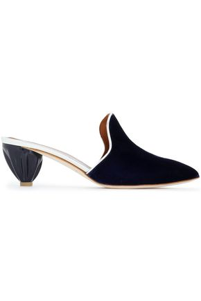 MALONE SOULIERS Metallic leather-trimmed velvet mules