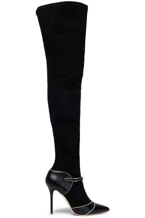 MALONE SOULIERS Two-tone suede thigh boots