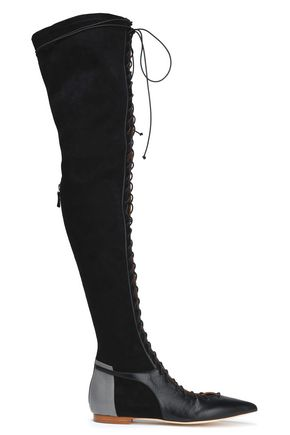 MALONE SOULIERS Lace-up suede and leather thigh boots