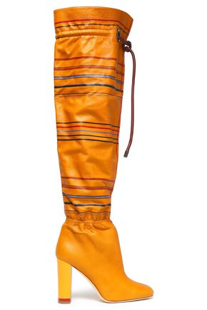 MALONE SOULIERS Gathered striped leather over-the-knee boots