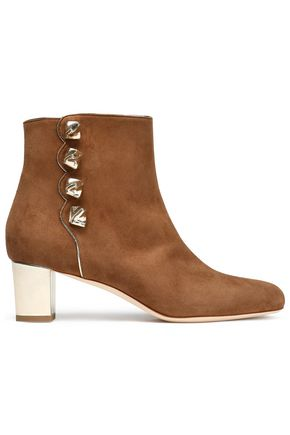 MALONE SOULIERS Metallic leather-trimmed suede ankle boots