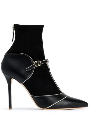 MALONE SOULIERS Paneled leather and suede ankle boots