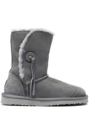 LOVE by LUX Co. Cindy button-embellished shearling boots