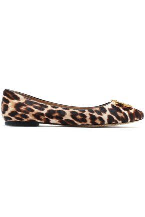 TORY BURCH Embellished leopard-print calf hair ballet flats