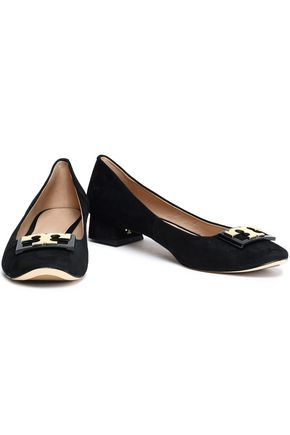 TORY BURCH Embellished suede ballet pumps