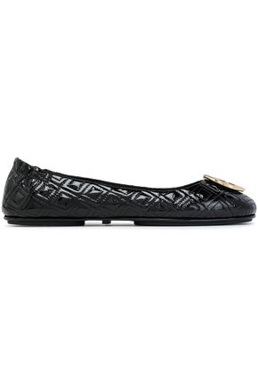 TORY BURCH Embellished quilted patent-leather ballet flats