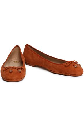TORY BURCH Bow-detailed suede ballet flats