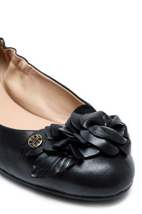 TORY BURCH Floral-appliquéd leather ballet flats