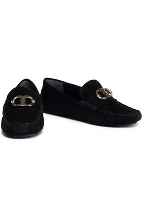 TORY BURCH Embellished suede loafers