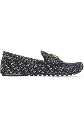 TORY BURCH Embellished printed calf hair loafers