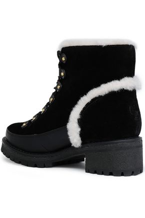 TORY BURCH Shearling-trimmed suede ankle boots