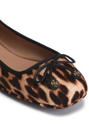 TORY BURCH Bow-detailed leopard-print calf hair ballet flats