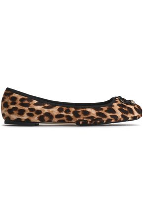 TORY BURCH Bow-detailed leopard-print calf hair ballet flats
