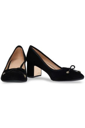 44800a59190 TORY BURCH Bow-detailed suede pumps