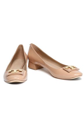 TORY BURCH Embellished patent-leather pumps