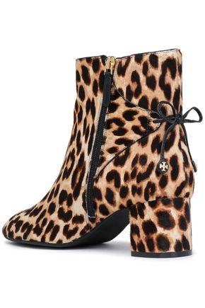 db34384c4b7 ... TORY BURCH Bow-detailed leopard-print calf hair ankle boots
