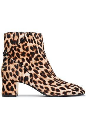 TORY BURCH Bow-detailed leopard-print calf hair ankle boots