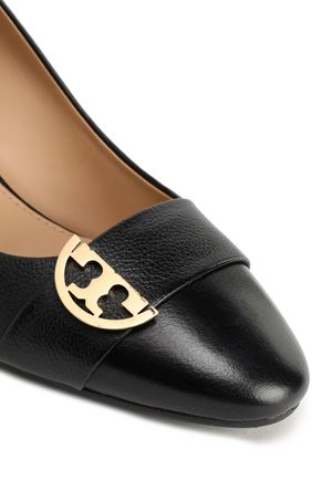 TORY BURCH Embellished leather wedge pumps