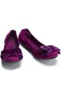 TORY BURCH Bow-embellished satin ballet flats