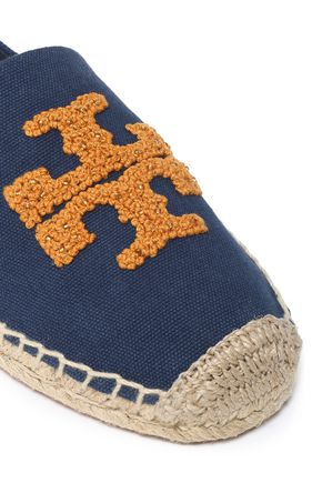 TORY BURCH Embroidered canvas espadrilles
