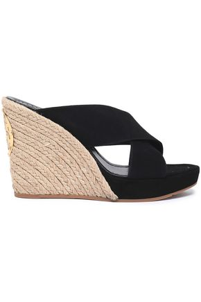 2902df684 TORY BURCH Suede wedge espadrille mules