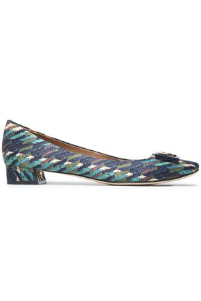 TORY BURCH Embellished printed woven pumps