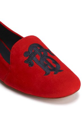 TORY BURCH Embroidered suede slippers