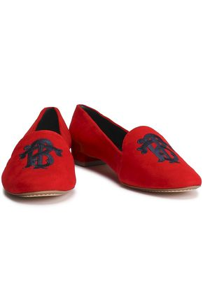 645b419665e TORY BURCH Embroidered suede slippers