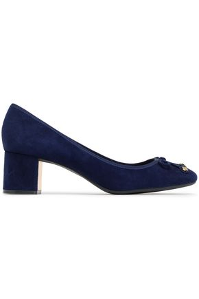 TORY BURCH Bow-detailed suede pumps