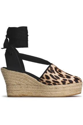 TORY BURCH Leopard-print calf hair wedge espadrilles