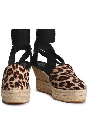 TORY BURCH Leopard-print calf hair wedge espadrilles