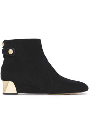 TORY BURCH Embellished suede ankle boots