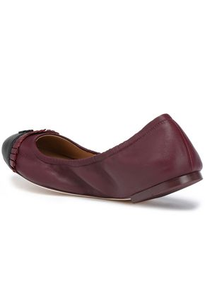 TORY BURCH Ruffle-trimmed leather ballet flats