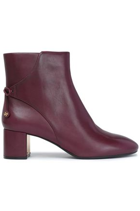 TORY BURCH Bow-detailed leather ankle boots
