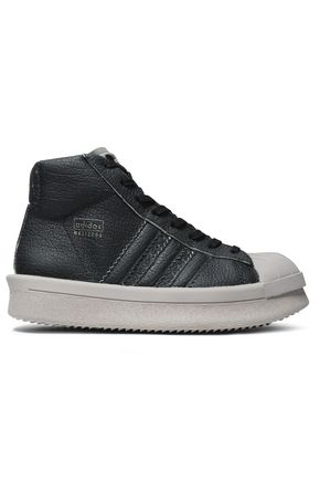 RICK OWENS x ADIDAS Textured-leather high-top sneakers