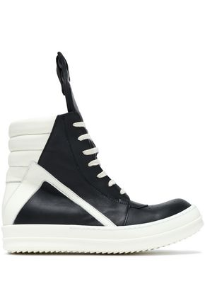 RICK OWENS Two-tone leather wedge high-top sneakers
