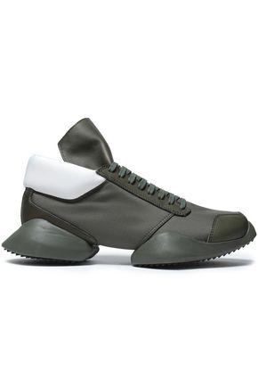 RICK OWENS x ADIDAS Two-tone leather, canvas and neoprene sneakers