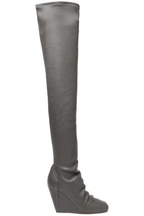 RICK OWENS Stretch-leather wedge thigh boots