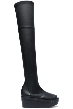 RICK OWENS Stretch-leather platform over-the-knee boots