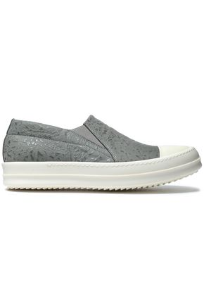 RICK OWENS Textured-leather slip-on sneakers