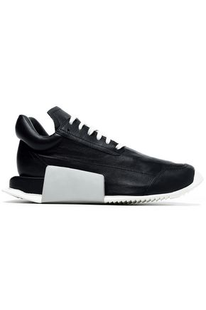 RICK OWENS x ADIDAS Smooth and textured-leather sneakers