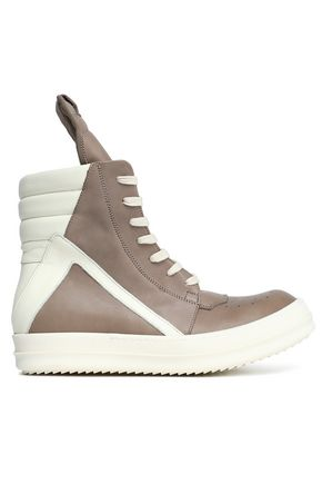 RICK OWENS Two-tone quilted and smooth leather sneakers