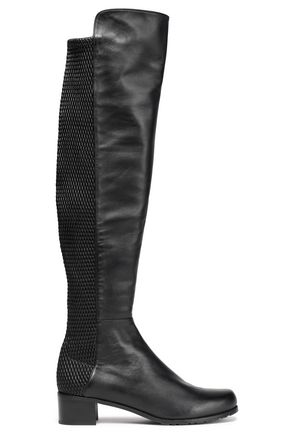STUART WEITZMAN Woven and smooth leather knee boots