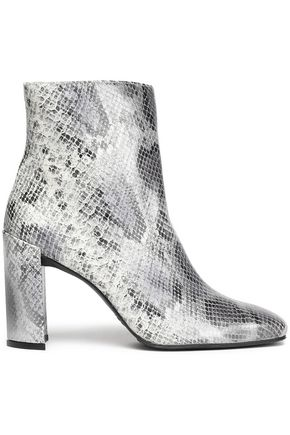 STUART WEITZMAN Snake-effect leather ankle boots